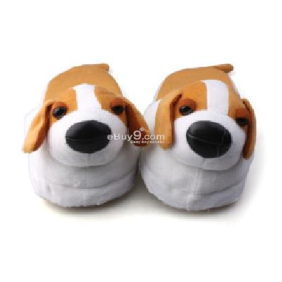 Cute Dog Soft Indoor Winter Cotton Slippers ( White ) UW155569-As picture
